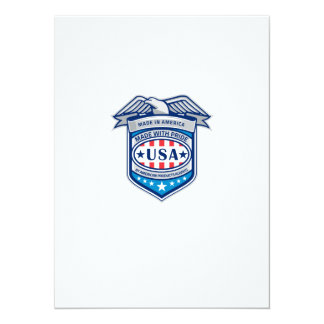 Made In America Eagle Patriotic Shield Retro Card
