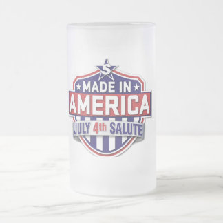 made in America Frosted Glass Beer Mug