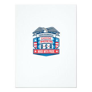 Made In America Patriotic Shield Retro 14 Cm X 19 Cm Invitation Card