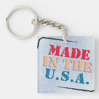 MADE IN AMERICA Single-Sided SQUARE ACRYLIC KEY RING