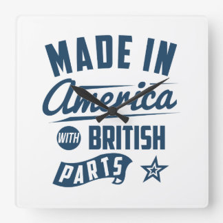 Made In America With British Parts Square Wall Clock