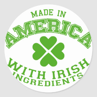 Made in America with Irish ingredients Classic Round Sticker
