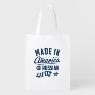 Made In America With Russian Parts Reusable Grocery Bag
