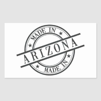 Made In Arizona Stamp Style Logo Symbol Black Rectangular Sticker