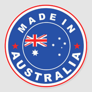 made in australia country flag label round sticker