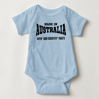"Made In Australia With ""add country"" Parts Custom Baby Bodysuit"