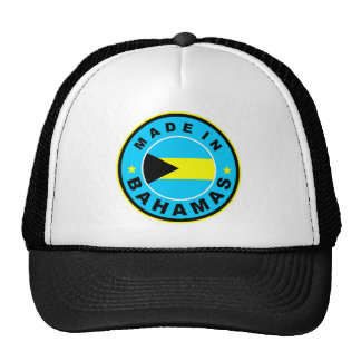 made in bahamas country flag label round stamp trucker hat