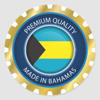 Made in Bahamas Seal, Bahamian Flag Classic Round Sticker