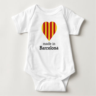 Made in Barcelona, La Senyera heart flag Catalonia Baby Bodysuit
