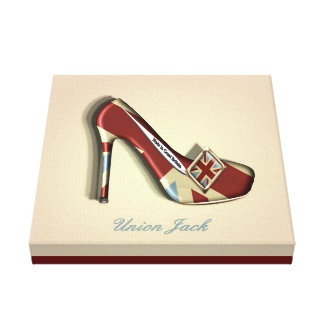 Made In Britain Union Jack Stiletto Shoe Canvas Print
