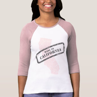 Made in California Grunge Map Ladies Pink Raglan T-Shirt