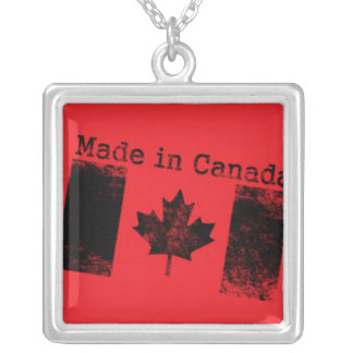 Made in Canada Black Stamp on Red Square Pendant Necklace