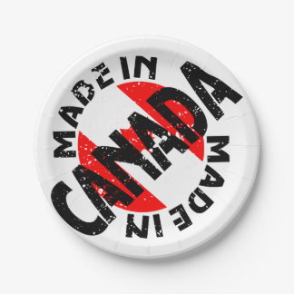 Made In Canada Label Paper Plates