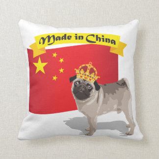 Made in China Pug with Crown and Flag Pillow