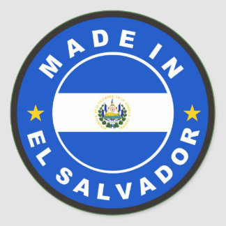 made in el salvador country flag product label round sticker