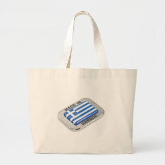 Made in Greece badge Large Tote Bag