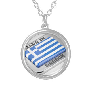 Made in Greece badge Silver Plated Necklace
