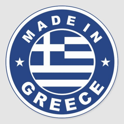 made in greece country flag label round stamp round sticker