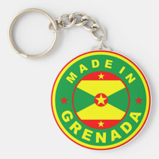 made in grenada country flag product label round key ring
