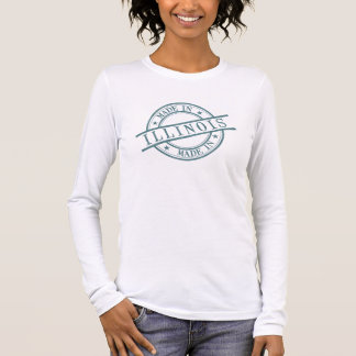 Made In Illinois Stamp Style Logo Symbol Green Long Sleeve T-Shirt