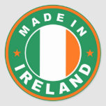 made in ireland country flag product label round stickers