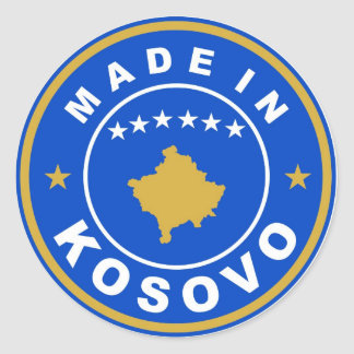 made in kosovo country flag product label round round sticker