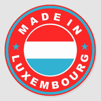 made in luxembourg country flag product label round sticker
