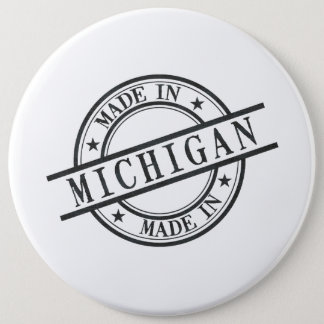 Made In Michigan Stamp Style Logo Symbol Black 6 Cm Round Badge