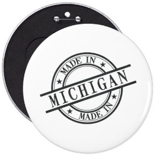 Made In Michigan Stamp Style Logo Symbol Black 6 Cm Round Badge