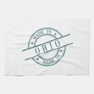 Made In Ohio Stamp Style Logo Symbol Green Tea Towel