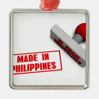 Made in Philippines Stamp or Chop on Paper Concept Silver-Colored Square Decoration