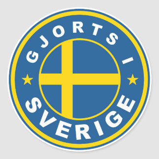 made in sweden country flag label gjorts sverige round sticker
