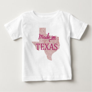Made in Texas Girls Baby T-Shirt Pink Shirt