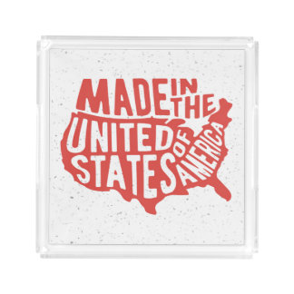 Made in the United States of America Typography Acrylic Tray