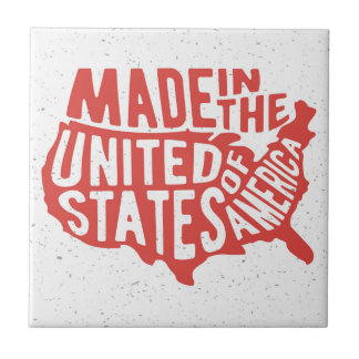 Made in the United States of America Typography Small Square Tile