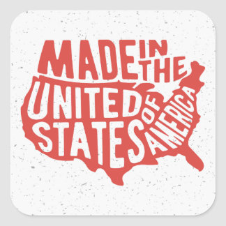 Made in the United States of America Typography Square Sticker