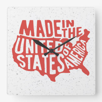 Made in the United States of America Typography Square Wall Clock