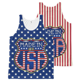 Made in the USA 4th of July Proud American Logo All-Over Print Singlet