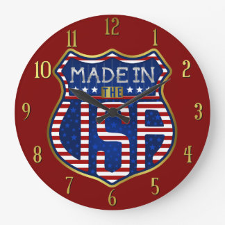 Made in the USA 4th of July Proud American Logo Large Clock