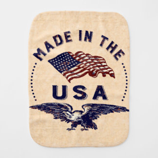 Made in the USA Vintage Eagle and Flag Burp Cloth