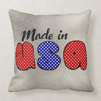 """""""Made in USA"""" cute doode sign, patriotic Cushion"""