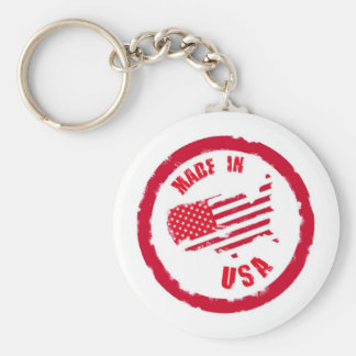 Made in USA rubber stamp design Basic Round Button Key Ring