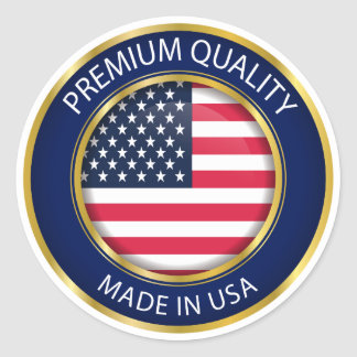Made in USA Seal, American Flag Classic Round Sticker