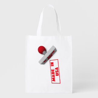 Made in USA Stamp or Chop on Paper Concept in 3d Reusable Grocery Bag