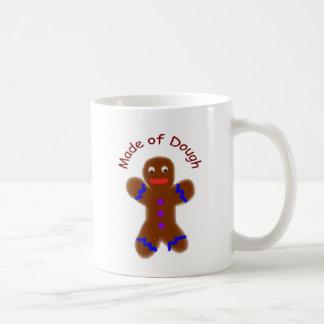 """Made of Dough"" Gingerbread Man Funny Basic White Mug"