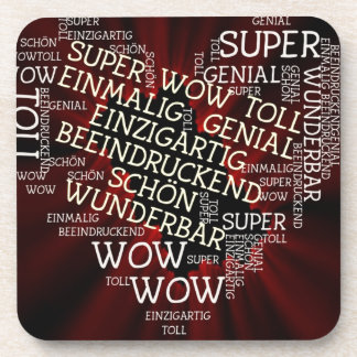 made of words, german text coasters