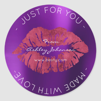Made With Love Amethyst Purple Maroon Makeup Lips Classic Round Sticker