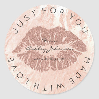 Made With Love Blush Lipstick Rose Pin Makeup Lips Classic Round Sticker