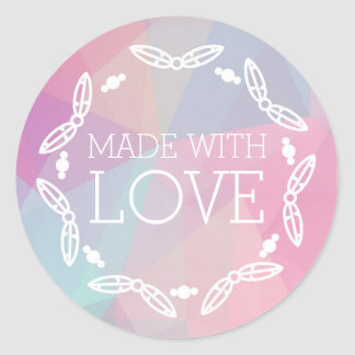 Made With Love Boho Chic Feathers On Pastel Classic Round Sticker