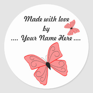 Made With Love Butterfly Sticker
